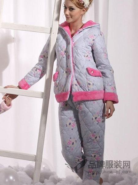月亮堡内衣品牌2019春夏女装三层加绒加厚水晶绒夹棉睡衣女士保暖棉袄服