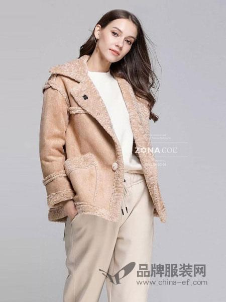 左娜可可女装品牌2019春夏新款女装皮毛一体夹克外套毛毛外套短款韩板包邮
