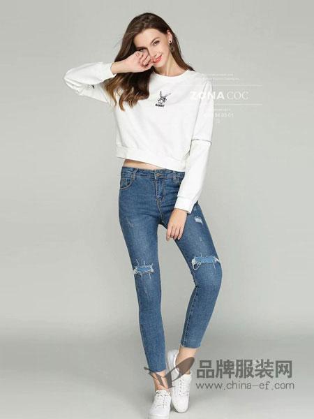 左娜可可女装品牌2019春夏新品韩版休闲兔子印花圆领长袖卫衣女百搭打底上衣