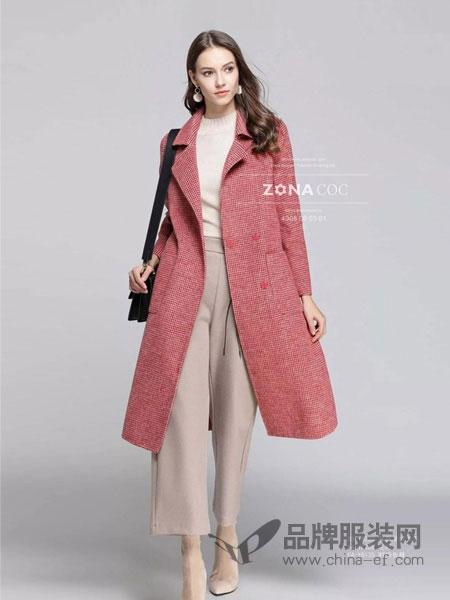 左娜可可女装品牌2019春夏新款高端修身中长款毛外套