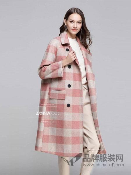 左娜可可女装品牌2019春夏复古格子外套女中长款韩版宽松过膝大衣