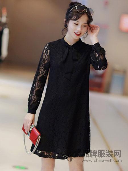 依佰思特女装品牌2019春夏新款女装显瘦职业连衣裙中长款修身