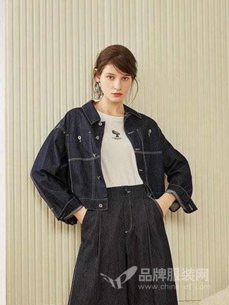 第一乐章  女装品牌2019春季韩版时尚百搭后背贴布刺绣牛仔外套翻领