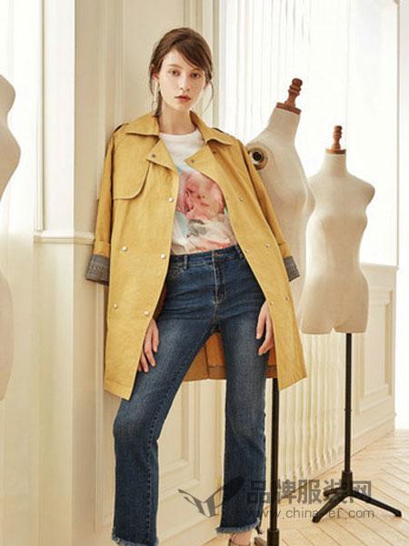 第一乐章  女装品牌2019春季时尚百搭气质喇叭袖风衣外套