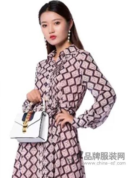 凯・芬梵妮女装品牌2019春夏新款时尚荷叶边印花连衣裙