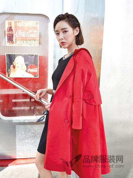 蜂后女装品牌2019春夏矮小个子风衣女中长款薄学生工装学院风连帽外套