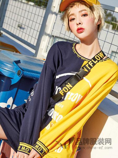 蜂后女装品牌2019春夏中长款卫衣裙新款女欧版宽松直筒撞色字母印花长袖连衣裙潮