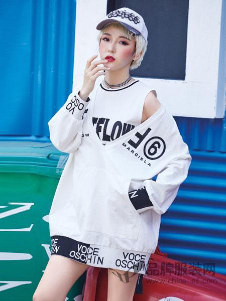 蜂后女装品牌2019春夏新款字母图案连衣裙女欧洲站背心露肩裙两件套
