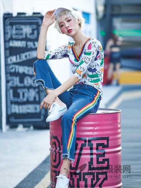 蜂后女装品牌2019春夏新款女装欧美条纹长袖上衣牛仔长裤两件套休闲运动套装女