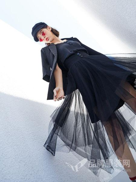 蜂后女装品牌2019春夏新款韩版时尚气质 网纱连衣裙女