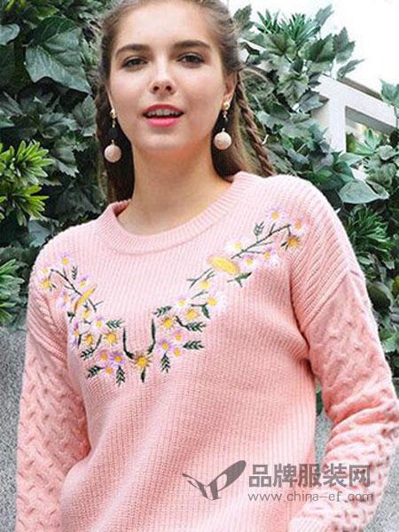 淑女坊女装品牌2019春季新款春装简约时尚宽松长袖圆领套头针织衫女上衣潮