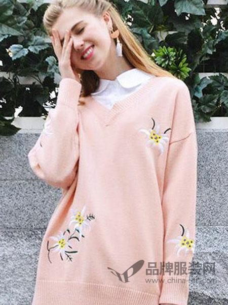 淑女坊女装品牌2019春季新款春装宽松长袖v领针织衫女简约百搭个性上衣潮