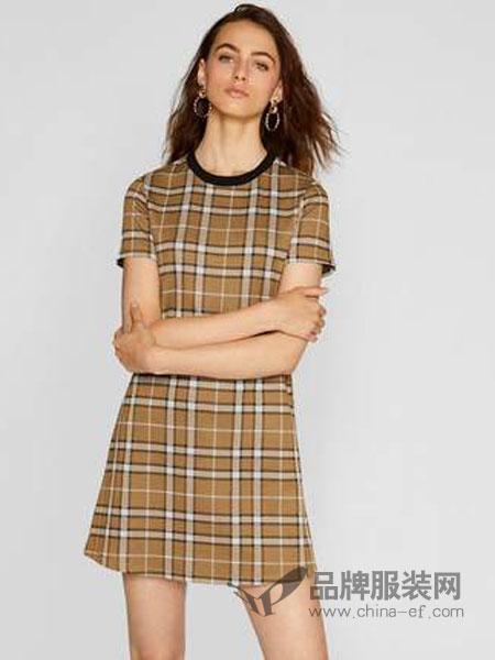 斯特拉迪瓦里斯女装品牌2019春夏新款简约风格纹复古显瘦连衣裙女