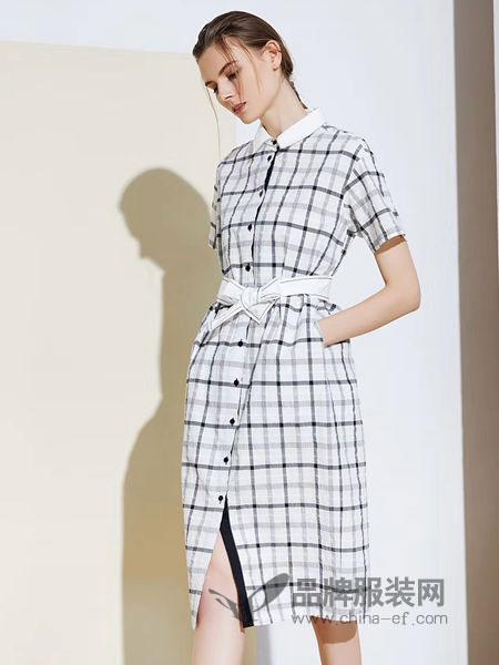 尚迪女装品牌2019春夏短袖系带中长款气质衬衫裙