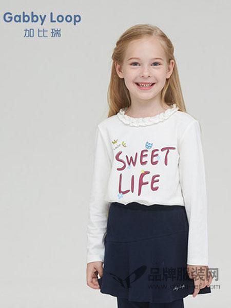 加比瑞童装品牌2019春季新品 女童圆领长袖T恤中大童花边领打底衫