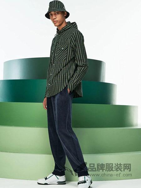 法国鳄鱼休闲品牌2018秋冬竖条纹修身商务休闲翻领长袖衬衫正装寸衫