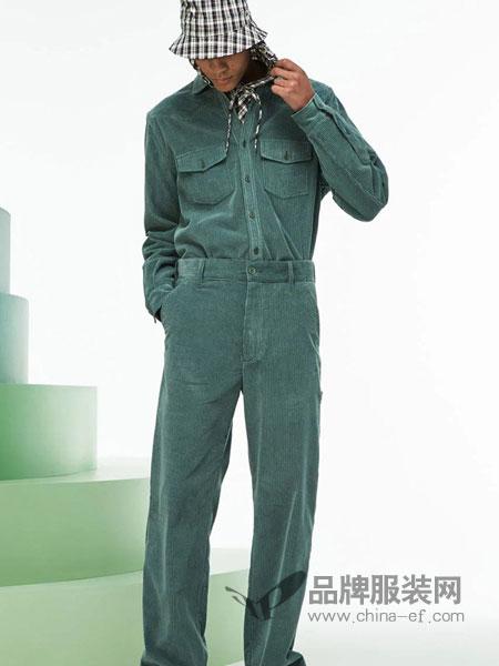 法国鳄鱼休闲品牌2018秋冬新款韩版灯芯绒衬衣小脚哈伦裤休闲两件套