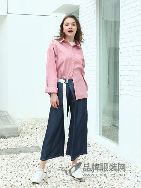 jjcc佳简衬橱女装品牌2019春季新款纯色舒适阔腿微喇长裤
