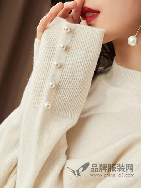 GGx女装品牌2018秋冬新款温柔风毛衣女韩版圆领韩版修身百搭钉珠打底衫潮
