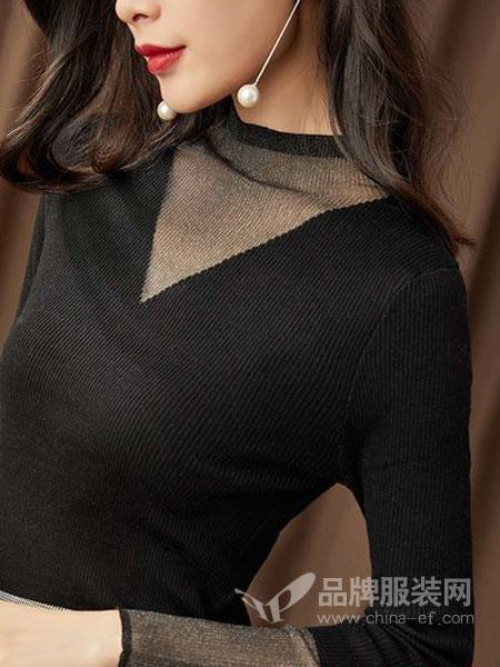 GGx女装品牌2018秋冬打底衫女修身显瘦很仙的上衣黑色半高领内搭长袖针织衫薄