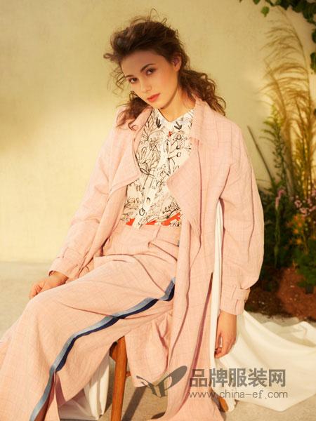 丽迪莎女装品牌2019春夏收腰修身中长款外套