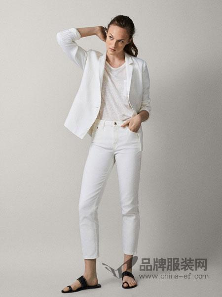 Massimo Dutti休闲品牌2019春夏新款小西装套装女韩版修中长款瘦棉麻一粒扣西服外套