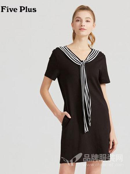 Five Plus5+女装品牌2019春夏新款短袖T恤式连衣裙女条纹短裙