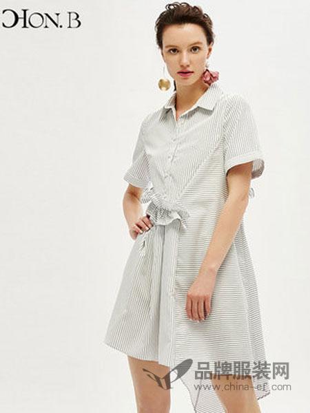 红贝缇女装品牌2019春夏新款衬衫裙中长款竖条纹收腰连衣裙休闲不规则女裙