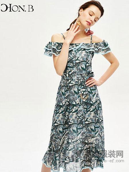 红贝缇女装品牌2019春夏新款碎花长裙吊带海边度假连衣裙一字领飘逸女裙