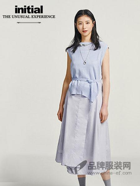 依迪索女装品牌2019春夏新款无袖连衣裙针织拼接休闲简约中长裙