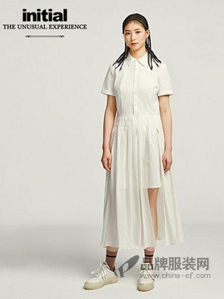 依迪索女装品牌2019春夏新款收腰连衣裙休闲衬衫式百褶傘中长裙女