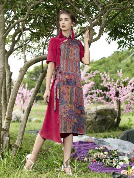 秀蓓儿女装品牌2019春季 棉麻布衣复古连衣裙长裙宽松