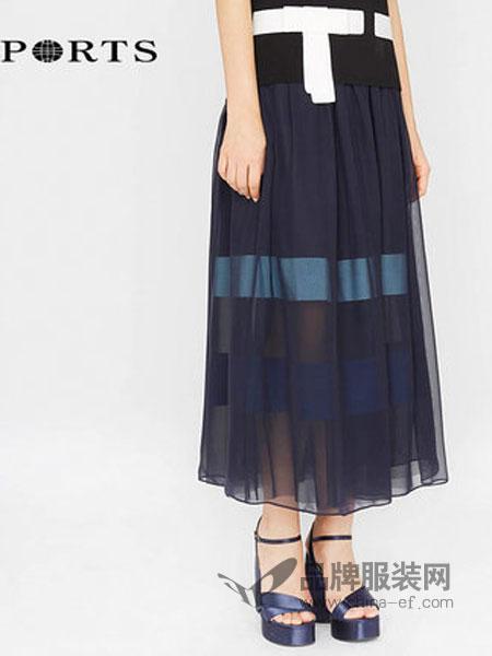 宝姿1961女装品牌2019春季新款百搭拼色中长半身裙