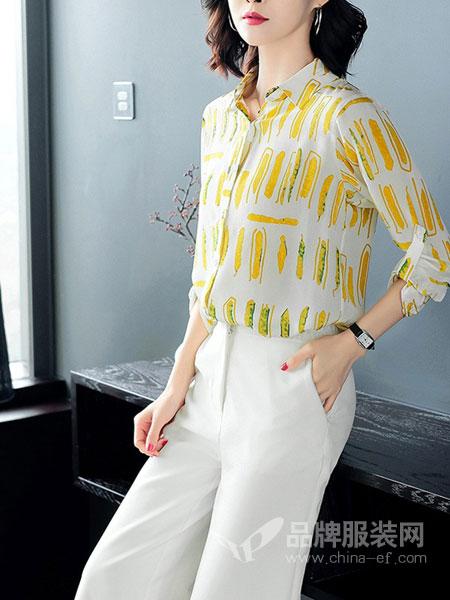 岚爵女装品牌2019春夏新款女士条纹印花方领气质小衫韩版上衣潮