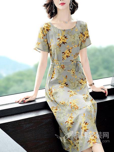 岚爵女装品牌2019春夏新款中长款高端时尚气质印花裙