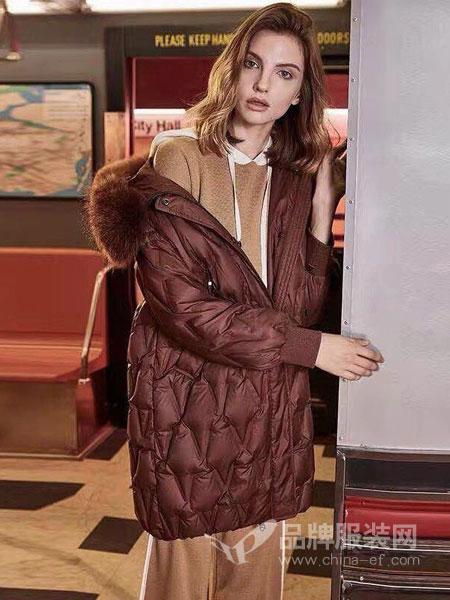绩点女装品牌2019新款时尚加厚毛领连帽羽绒服女中长款宽松保暖外套
