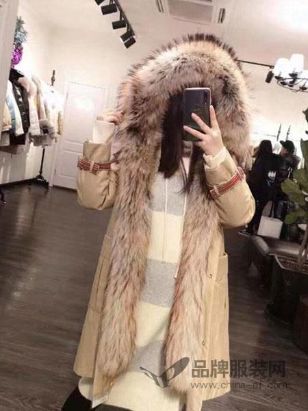 绩点女装品牌2019新款时尚连帽中长款外套