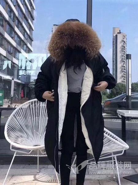 绩点女装品牌2019新款修身加厚宽松中长款羽绒服女