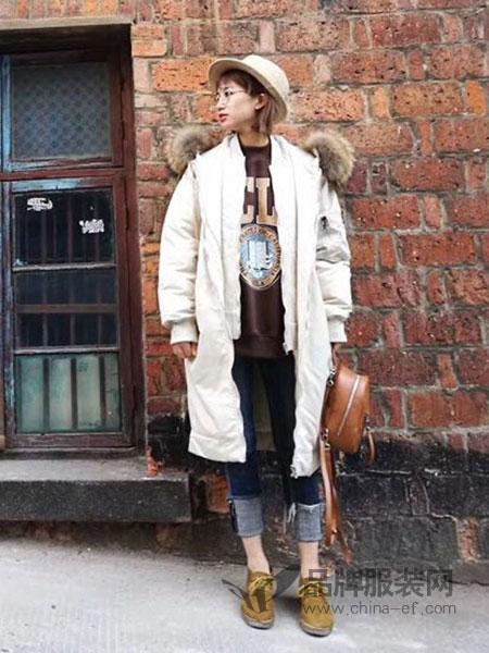 绩点女装品牌2019新款韩版毛领加厚中长款宽松收腰羽绒棉服外套