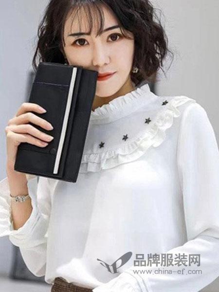 优慕莱咔女装品牌2019春夏新款纯色简约白色圆领衬衫