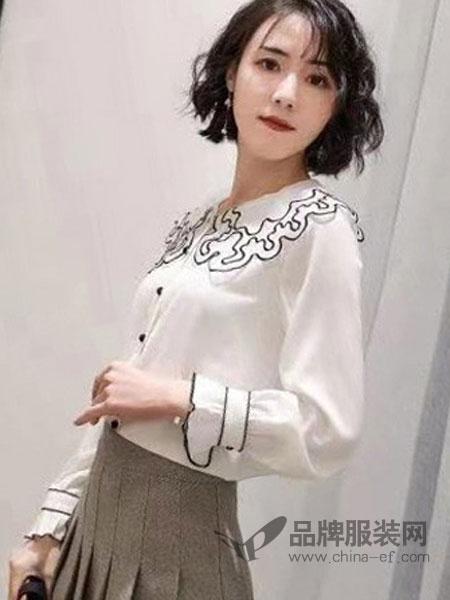 优慕莱咔女装品牌2019春夏新款蕾丝花边领衬衫学院风韩范洋气百搭遮肉雪纺衫