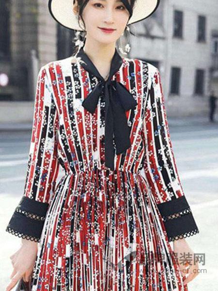 优慕莱咔女装品牌2019春夏新款V领腰部系带收腰条纹拼色长袖连衣裙