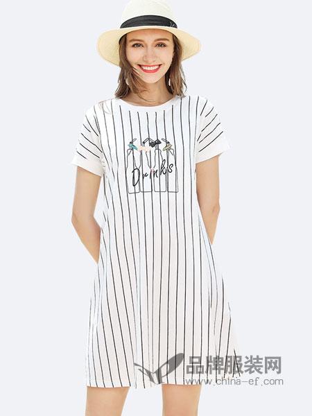 婧麒女装品牌2019春夏产后喂奶衣服春装显瘦中长款裙子辣妈款