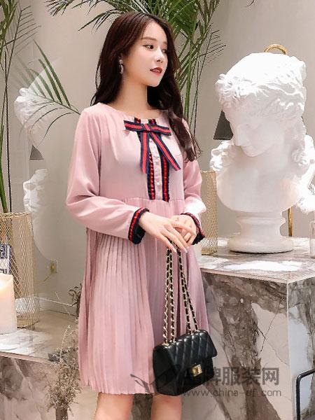婧麒女装品牌2019春夏新款中长款A字裙束口产前产后大裙摆