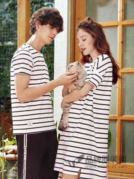 Jenizn内衣品牌2019春夏新款条纹t恤女长袖中长款黑白衣服韩版连衣裙