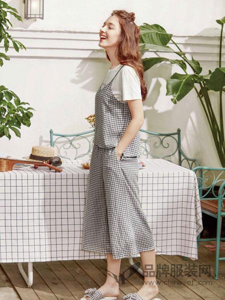 Jenizn内衣品牌2019春夏新款韩版格子吊带连体阔腿裤两件套套装