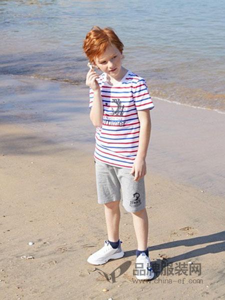 可趣可奇童装品牌2019春夏圆领短袖新款条纹短袖套装