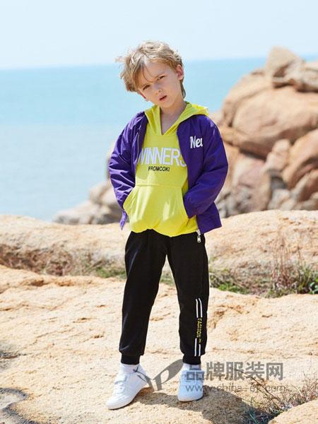 可趣可奇童装品牌2019春夏新款中童拼色运动套装