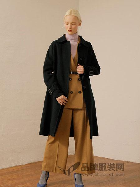 ON&ON女装品牌翻领褶皱束袖口羊绒羊毛手工大衣外套