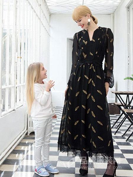 EVONA女装品牌蕾丝拼接长裙小V领收腰长袖连衣裙